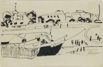 Ernst Ludwig Kirchner, Elbkähne in Dresden ( Barges on the Elbe River in Dresden), c. 1909